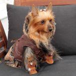 Pariisilaistyylinen takki koiralle, Paris Dream Café, kahvinruskea ihastuttava hupullinen takki, Kosteuttahylkivä pinta, fleece vuori, Tekokarvasomisteet , DiivaDog
