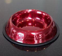 Koiran Ruokakuppi ruostumattomasta teräksestä, Huippuhieno Platinum Pets tuote, Korkeakiiltoinen Candy Red Apple väri, Halkaisija 21 cm, DiivaDog