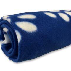 Koiran peitto fleeceviltti, Sininen viltti Koiralle Tassu- ja Luukuvioilla