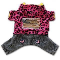 Koiran Vaatteet | Koiran Haalari Pink Leopard | Pehmoinen Fleece-vuori