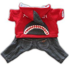 Koiran Vaatteet | Koiran Haalari Shark High Five!| Pehmoinen Fleece-vuori | Jumpsuit Taskuilla ja Neppareilla | Hupussa Näyttävä Hainevä!