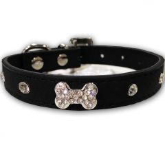 Pienen Koiran Kaulapanta | Diamond Bone Black | Samettimainen pinta