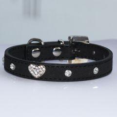 Koiran Kaulapanta | Kissan Kaulapanta | Black Velvet Glitter Heart | Samettimainen pinta