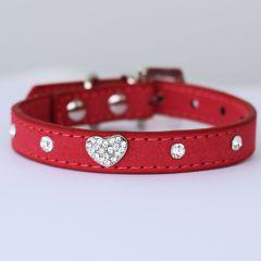 Koiran Kaulapanta | Kissan Kaulapanta | Rose Velvet Glitter Heart | Samettimainen pinta | DiivaDog