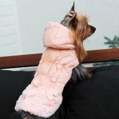 Koiran takki, Paris Dream Rose Champaign, ihastuttava hupullinen takki, Kosteuttahylkivä pinta, fleece vuori, Tekokarvasomisteet, DiivaDog