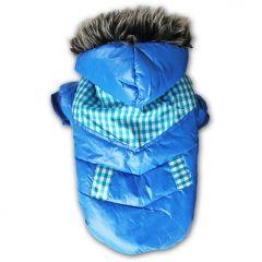 Koiran Toppatakki, Reipas Sininen takki Ruutusomisteilla, Kosteuttahylkivä pinta, silkkimäinen vuori, Hupussa tekokarvareunus, DiivaDog