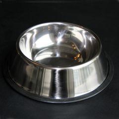 Koiran ruokakuppi Malaga Silver. Kupin halkaisija n. 22 cm ja tilavuus n. 5 dl. Ruostumaton teräs. Liukueste kupin reunoissa. DiivaDog.fi
