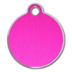 Nimilaatta Koiralle tai Kissalle, Classic Circle Pink & Silver, Hopeareunainen Pinkki Nimilaatta Lemmikille, DiivaDog