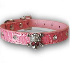 Koiran Kaulapanta Pääkallo Pink | Pinkki Kovis panta Koiralle tai Kissalle | Koristetimantit