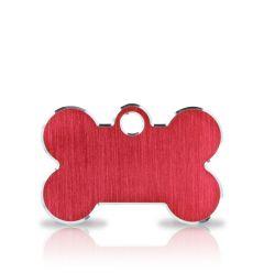 Nimilaatta Koira | Classic Bone Red & Silver | Hopeareunainen Punainen Luu - Nimilaatta Lemmikille