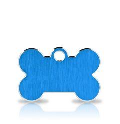 Nimilaatta Koiralle, Classic Bone Blue & Silver, Hopeareunainen Sininen Luu- Nimilaatta
